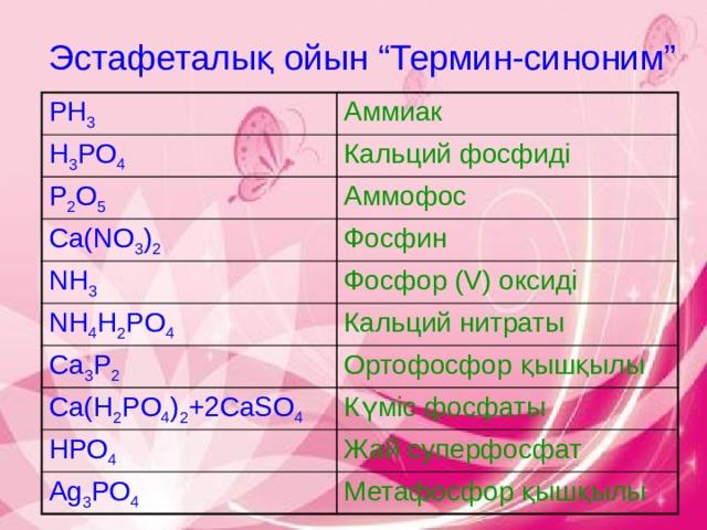 """Эстафеталық ойын """"Термин-синоним"""" PH 3 Аммиак H 3 PO 4 Кальций фосфиді P 2 O 5 Аммофос Ca(NO 3 ) 2 Фосфин NH 3 Фосфор (V) оксиді NH 4 H 2 PO 4 Кальций нитраты Ca 3 P 2 Ортофосфор қышқылы Ca(H 2 PO 4 ) 2 +2CaSO 4 Күміс фосфаты HPO 4 Жай суперфосфат Ag 3 PO 4 Метафосфор қышқылы"""