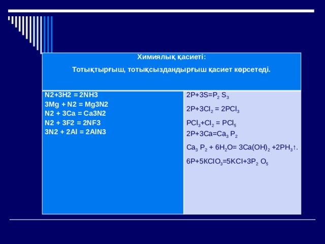 Химиялық қасиеті: Тотықтырғыш, тотықсыздандырғыш қасиет көрсетеді. N2+3H2 = 2NH3  3Mg + N2 = Mg3N2  N2 + 3Ca = Ca3N2  N2 + 3F2 = 2NF3  3N2 + 2Al = 2AlN3 2Р+3S=P 2 S 3 2P+3CI 2 = 2РСl 3 РСl 3 +CI 2 = РСl 5  2P+3Ca=Ca 3 P 2 Са 3 Р 2 + 6Н 2 О= 3Cа(ОН) 2 +2РН 3 ↑. 6Р+5КСIО 3 =5KCI+3P 2 O 5