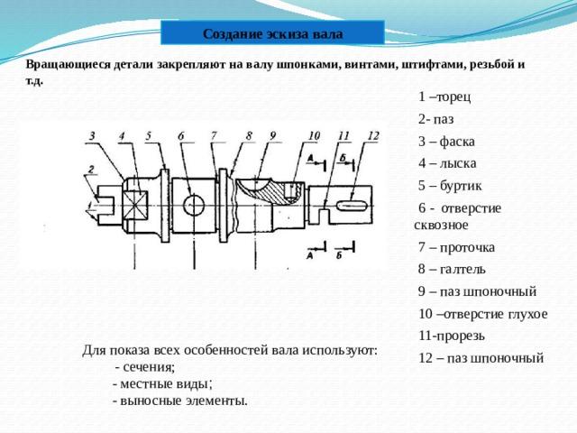 Создание эскиза вала Вращающиеся детали закрепляют на валу шпонками, винтами, штифтами, резьбой и т.д .  1 –торец  2- паз  3 – фаска  4 – лыска  5 – буртик  6 - отверстие сквозное  7 – проточка  8 – галтель  9 – паз шпоночный  10 –отверстие глухое  11-прорезь  12 – паз шпоночный Для показа всех особенностей вала используют:  - сечения;  - местные виды ;  - выносные элементы.