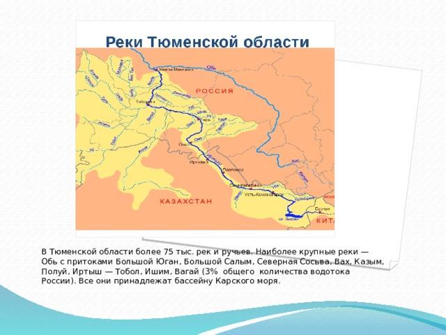 В Тюменской области более 75 тыс. рек и ручьев. Наиболее крупные реки — Обь с притоками Большой Юган, Большой Салым, Северная Сосьва, Вах, Казым, Полуй, Иртыш — Тобол, Ишим, Вагай (3% общего количества водотока России). Все они принадлежат бассейну Карского моря.
