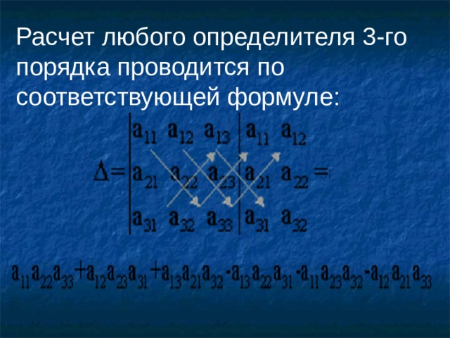 Расчет любого определителя 3-го порядка проводится по соответствующей формуле:
