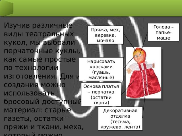 Изучив различные виды театральных кукол, мы выбрали перчаточные куклы, как самые простые по технологии изготовления. Для их создания можно использовать бросовый доступный материал: старые газеты, остатки пряжи и ткани, меха, который можно найти в каждом доме. Голова – папье-маше Пряжа, мех, веревка, мочало Нарисовать красками (гуашь, масляные) Основа платья – перчатка (остатки ткани) Декоративная отделка (тесьма, кружево, лента)
