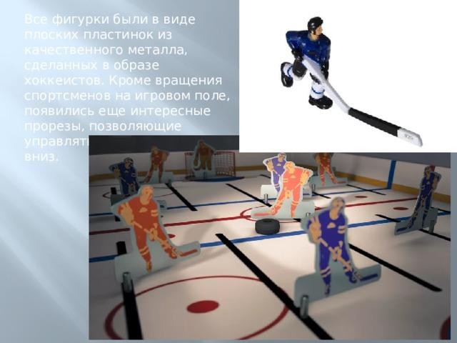 Все фигурки были в виде плоских пластинок из качественного металла, сделанных в образе хоккеистов. Кроме вращения спортсменов на игровом поле, появились еще интересные прорезы, позволяющие управлять игроками вверх и вниз.