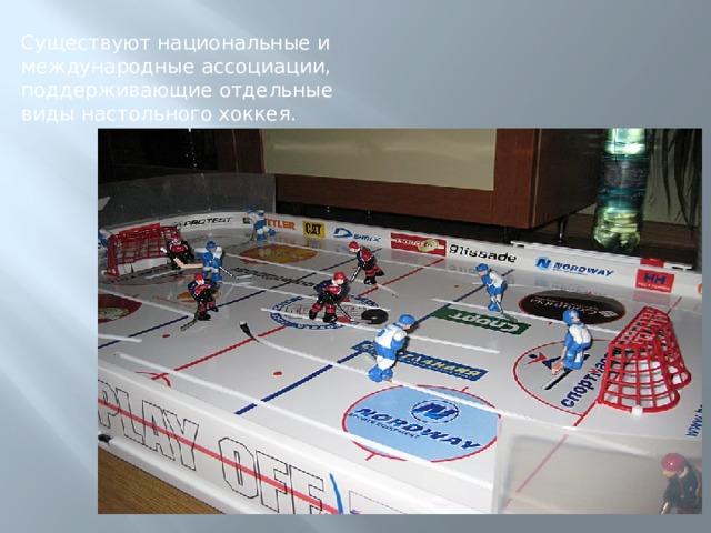 Существуют национальные и международные ассоциации, поддерживающие отдельные виды настольного хоккея.