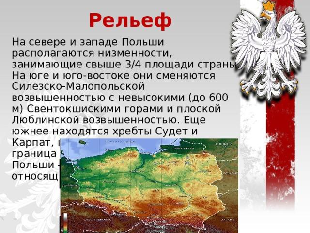 Рельеф На севере и западе Польши располагаются низменности, занимающие свыше 3/4 площади страны. На юге и юго-востоке они сменяются Силезско-Малопольской возвышенностью с невысокими (до 600 м) Свентокшискими горами и плоской Люблинской возвышенностью. Еще южнее находятся хребты Судет и Карпат, по которым проходит южная граница Польши. Самая высокая точка Польши - пик Рысы (2499 м), относящийся к Карпатам.