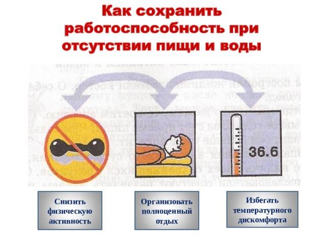 Снизить физическую активность Организовать полноценный отдых Избегать температурного дискомфорта