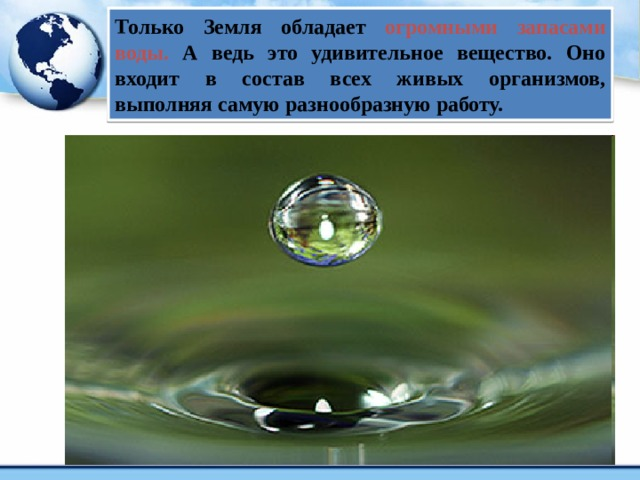 Только Земля обладает огромными запасами воды.  А ведь это удивительное вещество. Оно входит в состав всех живых организмов, выполняя самую разнообразную работу.