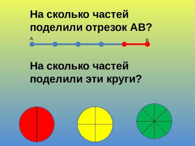 На сколько частей поделили отрезок АВ? А В На сколько частей поделили эти круги?