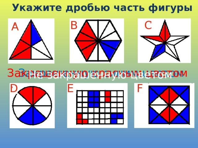Укажите дробью часть фигуры C B А Закрашенную синим цветом Закрашенную красным цветом Не закрашенную цветом D E F