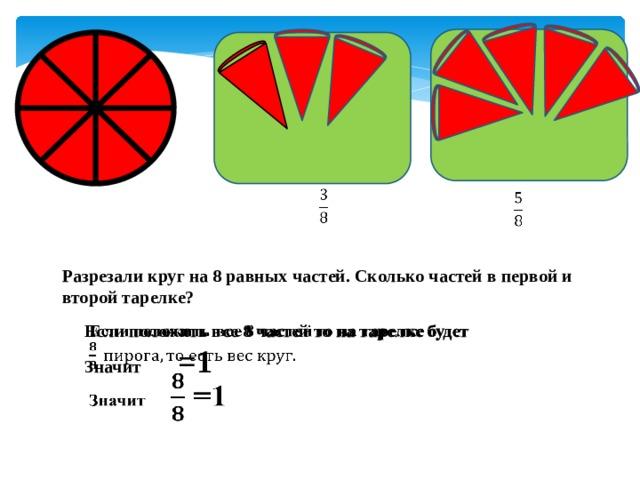 Разрезали круг на 8 равных частей. Сколько частей в первой и второй тарелке?  Если положить все 8 частей то на тарелке будет  Значит  =1