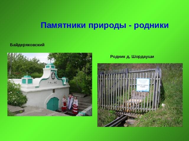 Памятники природы - родники Байдеряковский Родник д. Шордауши