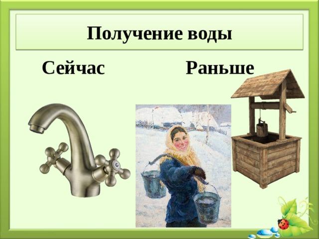 Получение воды Сейчас Раньше
