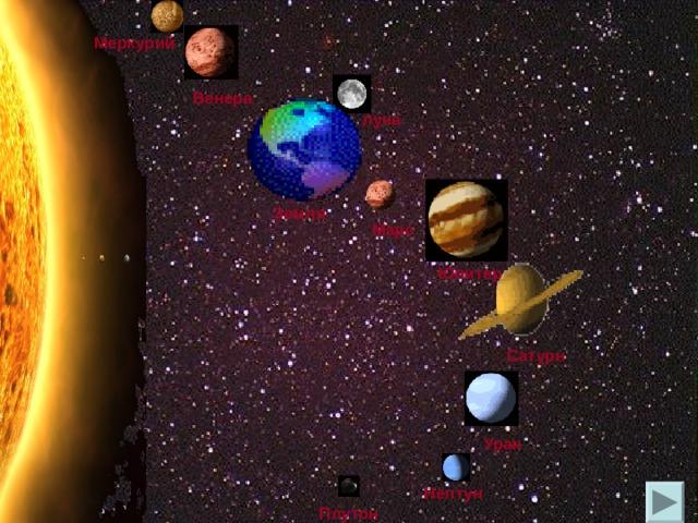 Меркурий Венера луна Земля Марс Юпитер Сатурн Уран Нептун Плутон