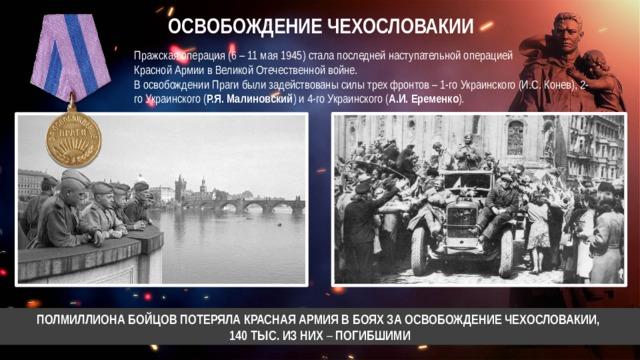 ОСВОБОЖДЕНИЕ ЧЕХОСЛОВАКИИ Пражская операция (6 – 11 мая 1945) стала последней наступательной операцией  Красной Армии в Великой Отечественной войне. В освобождении Праги были задействованы силы трех фронтов – 1-го Украинского (И.С. Конев), 2-го Украинского ( Р.Я. Малиновский ) и 4-го Украинского ( А.И. Еременко ). ПОЛМИЛЛИОНА БОЙЦОВ ПОТЕРЯЛА КРАСНАЯ АРМИЯ В БОЯХ ЗА ОСВОБОЖДЕНИЕ ЧЕХОСЛОВАКИИ, 140 ТЫС. ИЗ НИХ – ПОГИБШИМИ