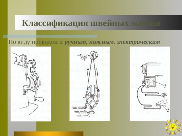 Классификация швейных машин По виду приводов: с ручным, ножным. электрическим