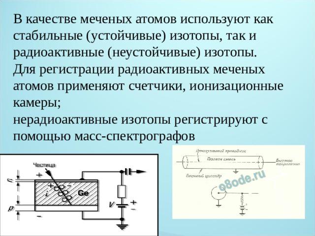 В качестве меченых атомов используют как стабильные (устойчивые) изотопы, так и радиоактивные (неустойчивые) изотопы. Для регистрации радиоактивных меченых атомов применяют счетчики, ионизационные камеры; нерадиоактивные изотопы регистрируют с помощью масс-спектрографов