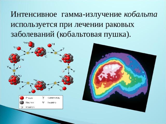 Интенсивное гамма-излучение кобальта используется при лечении раковых заболеваний (кобальтовая пушка).