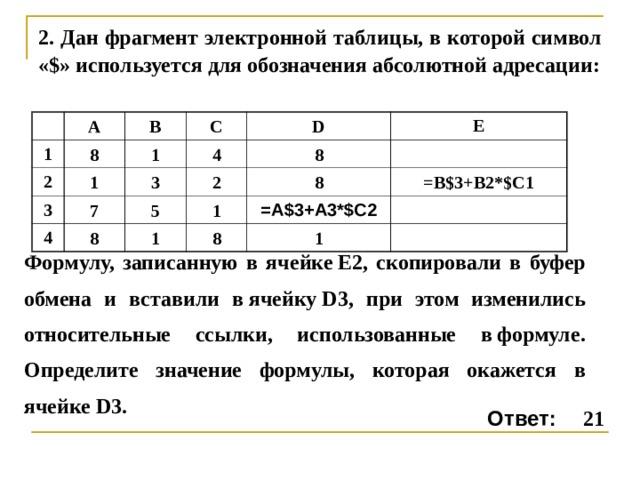 2. Дан фрагмент электронной таблицы, в которой символ «$» используется для обозначения абсолютной адресации: 1 A 8 2 B 3 1 1 C 4 7 3 D 4 E 8 8 2 5 1 1 8 8 =B$3+B2*$C1 1 =А$3+А3*$C2 Формулу, записанную в ячейкеE2, скопировали в буфер обмена и вставили вячейкуD3, при этом изменились относительные ссылки, использованные вформуле. Определите значение формулы, которая окажется в ячейкеD3. Ответ: 21