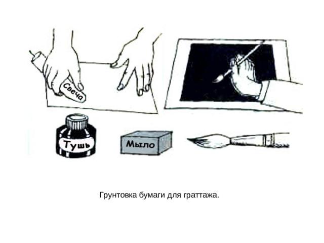 Грунтовка бумаги для граттажа.