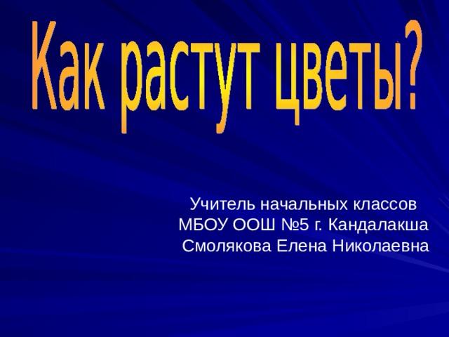 Учитель начальных классов МБОУ ООШ №5 г. Кандалакша Смолякова Елена Николаевна