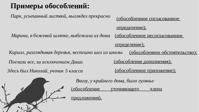 Примеры обособлений: Парк, усыпанный листвой, выглядел прекрасно (обособленное согласованное определение); Марина, в бежевой шляпке, выбежала из дома (обособленное несогласованное определение); Кирилл, разглядывая деревья, неспешно шел из школы (обособленное обстоятельство); (обособление дополнения); Поехали все, за исключением Даши (обособленное приложение); Здесь был Николай, ученик 5 класса Внизу, у крайнего дома, было гулянье (обособление уточняющего члена предложения).