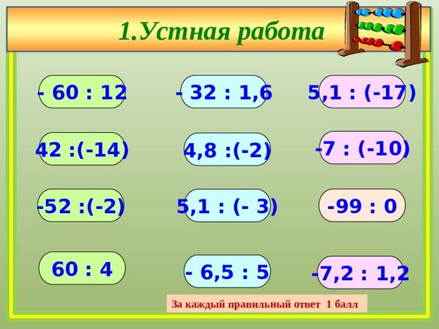 1.Устная работа - 60 : 12 - 32 : 1,6 5,1 : (-17) -7 : (-10) 42 :(-14) 4,8 :(-2) -52 :(-2) -99 : 0 5,1 : (- 3) 60 : 4 - 6,5 : 5 -7,2 : 1,2 За каждый правильный ответ 1 балл