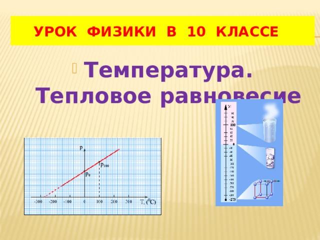 УРОК ФИЗИКИ В 10 КЛАССЕ