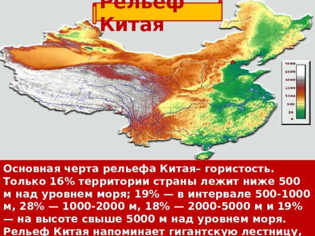 Рельеф Китая Основная черта рельефаКитая– гористость. Только 16% территории страны лежит ниже 500 м над уровнем моря; 19% — в интервале 500-1000 м, 28% — 1000-2000 м, 18% — 2000-5000 м и 19% — на высоте свыше 5000 м над уровнем моря. Рельеф Китая напоминает гигантскую лестницу, спускающуюся с запада на восток.