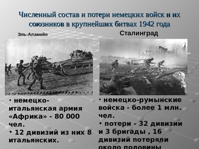Численный состав и потери немецких войск и их союзников в крупнейших битвах 1942 года   Эль-Аламейн  Сталинград