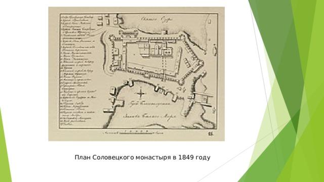 План Соловецкого монастыря в 1849 году