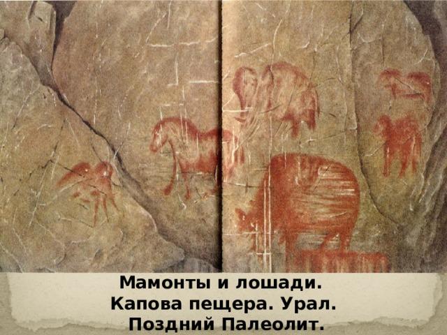 Мамонты и лошади. Капова пещера. Урал.  Поздний Палеолит.