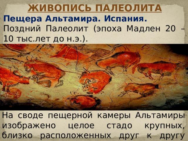 Живопись Палеолита Пещера Альтамира. Испания. Поздний Палеолит (эпоха Мадлен 20 – 10 тыс.лет до н.э.). На своде пещерной камеры Альтамиры изображено целое стадо крупных, близко расположенных друг к другу бизонов.