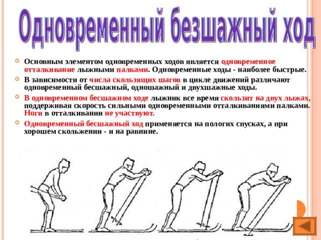 Основным элементом одновременных ходов является одновременное отталкивание лыжными палками . Одновременные ходы - наиболее быстрые. В зависимости от числа скользящих шагов в цикле движений различают одновременный бесшажный, одношажный и двухшажные ходы. В одновременном бесшажном ходе лыжник все время скользит на двух лыжах, поддерживая скорость сильными одновременными отталкиваниями палками. Ноги в отталкивании не участвуют.  Одновременный бесшажный ход применяется на пологих спусках, а при хорошем скольжении - и на равнине.