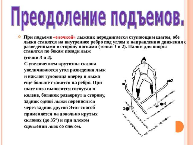 При подъеме «елочкой» лыжник передвигается ступающим шагом, обе лыжи ставятся на внутреннее ребро под углом к направлению движения с разведенными в сторону носками (точки 1 и 2). Палки для опоры ставятся по бокам позади лыж