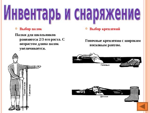 Выбор  палок Палки для школьников равняются 2/3 его роста. С возрастом длина палок увеличивается. Выбор креплений