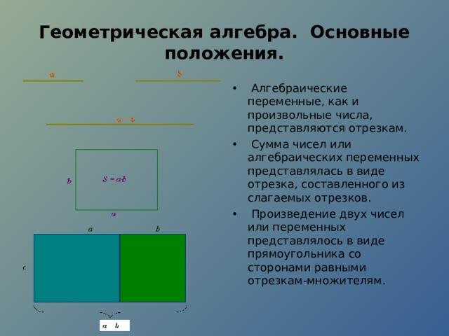 Геометрическая алгебра. Основные положения.