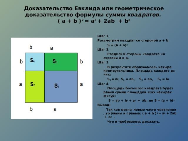 Доказательство Евклида или геометрическое доказательство формулы суммы квадратов.  ( а + b ) 2 = а 2 + 2а b + b 2   Шаг 1. Рассмотрим квадрат со стороной а + b .  S = (а + b ) 2  Шаг 2.  Разделим стороны квадрата на отрезки a и b . Шаг 3.  В результате образовалось четыре прямоугольника. Площадь каждого из них:  S 1 = a 2 , S 2 = ab , S 3 = ab , S 4 = b 2 Шаг 4.  Площадь большого квадрата будет равна сумме площадей этих четырех фигур:  S = ab + b 2 + a 2 +  ab , но S = (а + b ) 2  Вывод:  Так как равны левые части уравнения , то равны и правые: ( а + b ) 2 = а 2 + 2а b + b 2 .  Что и требовалось доказать.