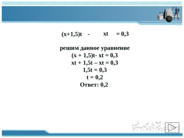 xt = 0,3 (х+1,5)t - решим данное уравнение (х + 1,5)t- хt = 0,3 xt + 1,5t – xt = 0,3 1,5t = 0,3 t = 0,2 Ответ: 0,2