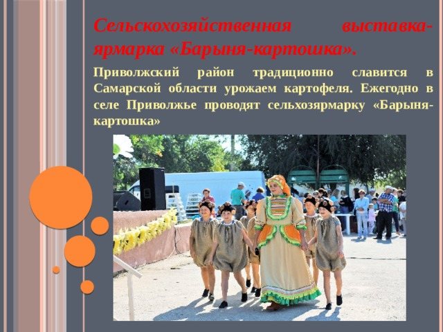 Сельскохозяйственная выставка- ярмарка «Барыня-картошка». Приволжский район традиционно славится в Самарской области урожаем картофеля. Ежегодно в селе Приволжье проводят сельхозярмарку «Барыня-картошка»