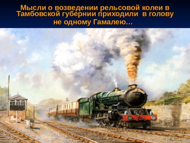 Мысли о возведении рельсовой колеи в Тамбовской губернии приходили в голову не одному Гамалею…