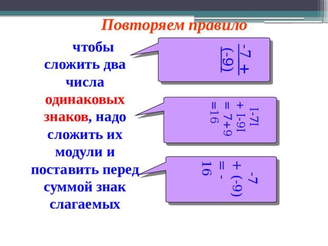 -7 + (-9)  I-7I + I-9I = 7+9 =16   -7 + (-9) = - 16 Повторяем правило   чтобы сложить два числа одинаковых знаков , надо сложить их модули и поставить перед суммой знак слагаемых