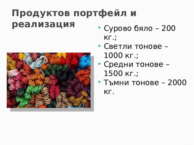 """Продуктов портфейл и реализация Сурово бяло – 200 кг.; Светли тонове – 1000 кг.; Средни тонове – 1500 кг.; Тъмни тонове – 2000 кг. Асортиментът на произвежданата продукция е многообразен. Разработени са над 400 вида прежди в богата цветова гама (към 120 основни цвята). Наличието на собствена багрилна база дава възможност за производство на всеки желан цвят по мостра. """"Велбъдж"""" АД произвежда основно камгарни, полукамгарни прежди и ленти. Производството на прежди за машинно плетиво – камгарни прежди, е значително повече от това за ръчно плетиво – полукамгарни прежди, като съотношението е приблизително 4:1. Фирмата насочва производството си към прежди за машинно плетиво, съобразявайки се с търсенето на пазара. 2"""
