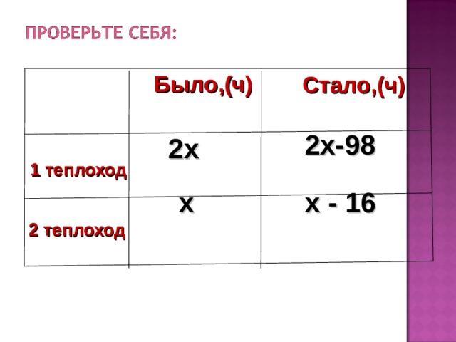 Было,(ч) Стало,(ч) 2х-98 2х  1 теплоход х х - 16  2 теплоход