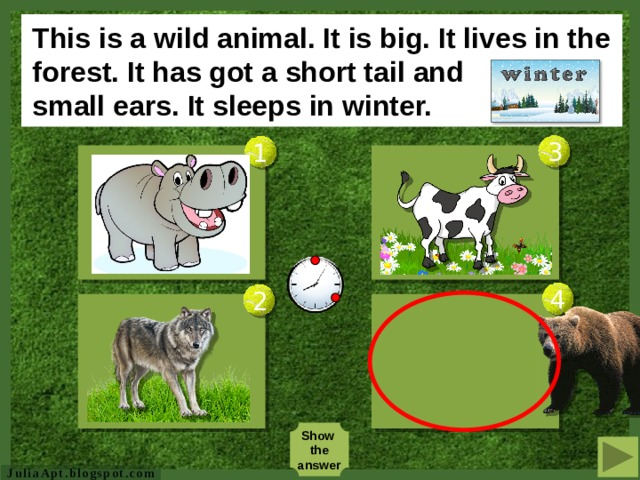 This is a domestic animal. It lives on a farm. It doesn't like grass. It has got many babies. https:// img.clipartfox.com/7e26879ad89d0fbf10c1dd4619a47831_pigs-cartoon-pig-clipart-big-pig-clipart_300-240.gif  3 1 http:// clipartmonk.com/content/uploads/yo/younggoatclipart15cm.gif  http:// pngimg.com/upload_small/deer/deer_PNG10174.png  4 2 Show the answer  JuliaApt.blogspot.com