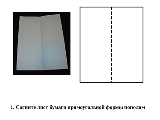 1. Согните лист бумаги прямоугольной формы пополам