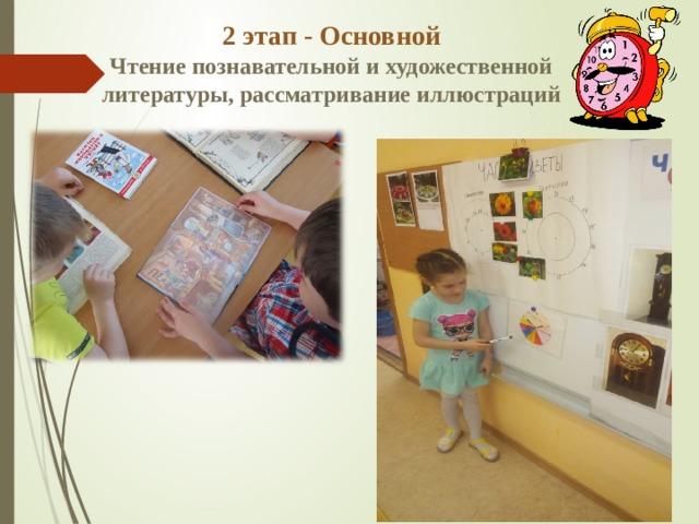2 этап - Основной  Чтение познавательной и художественной литературы, рассматривание иллюстраций