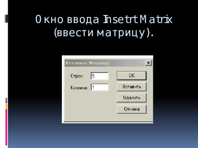 Окно ввода Insetrt Matrix (ввести матрицу).
