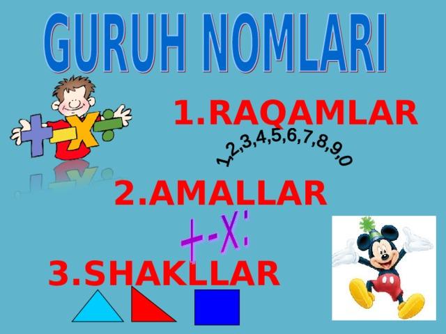 1.RAQAMLAR   2.AMALLAR  3.SHAKLLAR