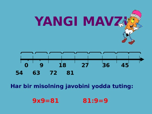 YANGI MAVZU:  0 9 18 27 36 45 54 63 72 81   Har bir misolning javobini yodda tuting:   9x9=81 81:9=9