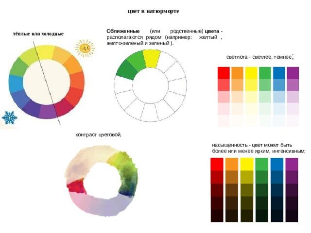 цвет в натюрморте  Сближенные (или родственные) цвета - располагаются рядом (например: желтый , желто-зеленый и зеленый ).  тёплые или холодные  светлота - светлее, темнее ; контраст цветовой, насыщенность - цвет может быть более или менее ярким, интенсивным;
